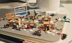 Scènes miniatures et sa vie bureautique